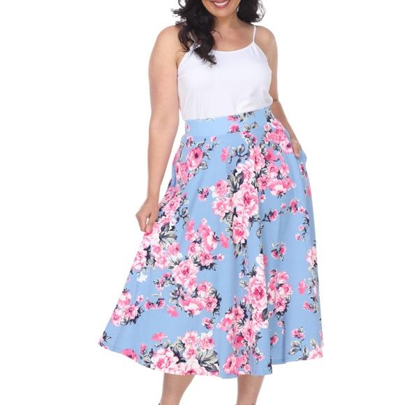 700eb65fab8 PLUS SIZE Floral Print Full A Midi Skirt PS709-186. Boutique. White Mark